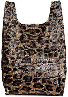 Ashish black and brown Classic Big Leopard Sequin Tote Bag