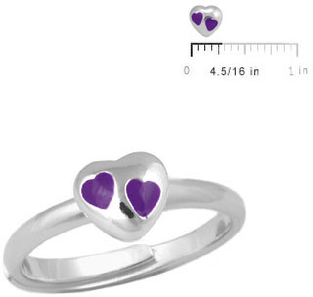 Ice Children Silver Purple Heart Adjustable Ring For Girls (Size 3-7)