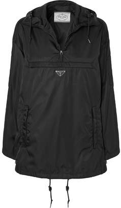 Prada Hooded Leather-trimmed Shell Jacket - Black