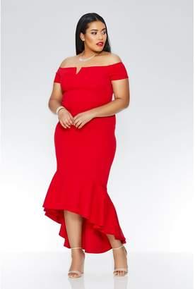 Quiz Curve Red Crepe Bardot Dip Hem Maxi Dress
