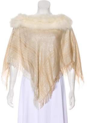 Gucci Wool-Blend Fox Fur Trim Poncho