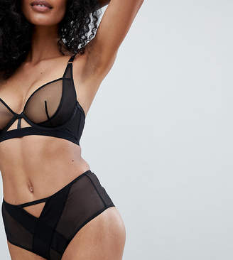 Wolfwhistle Wolf & Whistle Black High Waisted Mesh Brief