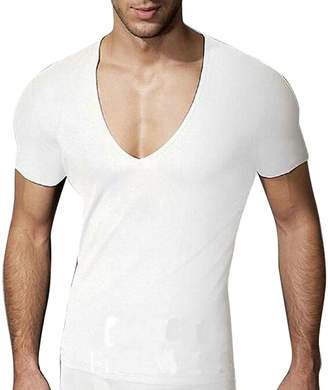 3510fe71510 Oberora-Men Oberora MENA Short Sleeve Solid Deep V-Neck Basic Comfy Workout  Tee