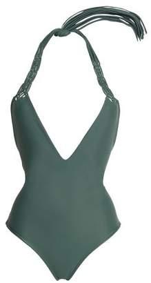 Mikoh Topanga Open-Back Macramé-Paneled Halterneck Swimsuit