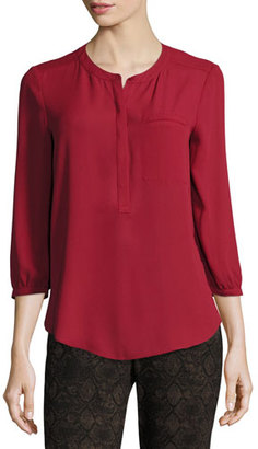 NYDJ 3/4-Sleeve Pleated-Back Blouse, Crimson Red $88 thestylecure.com