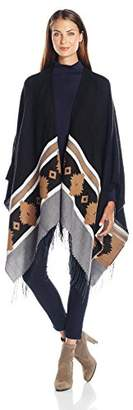 Collection XIIX Women's Ikat Border Ruana $58 thestylecure.com