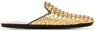 Bottega Veneta gold metallic fiandra leather loafers
