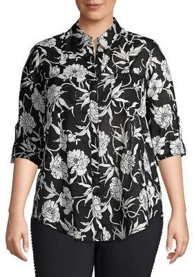 Lord & Taylor Plus Floral Roll Sleeve Shirt