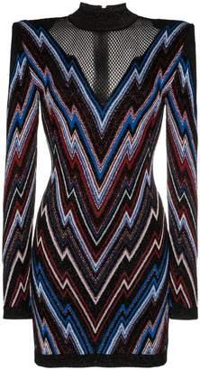 Balmain chevron pattern mesh panel knit mini dress