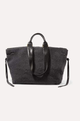 Isabel Marant Wardym Leather-trimmed Shearling Tote - Charcoal
