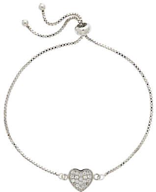 Melissa Odabash Crystal Heart Box Chain Bracelet, Silver