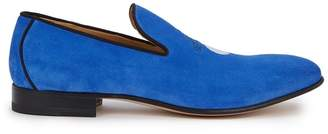 Alexander McQueen Blue Embroidered Suede Loafers