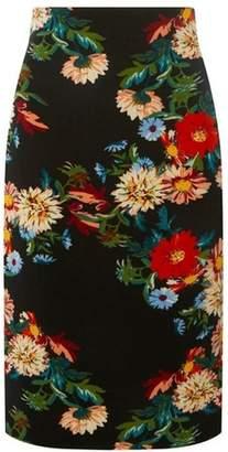 Dorothy Perkins Womens Black Floral Print Pencil Skirt