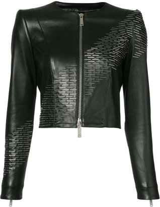 sequin detail leather jacket