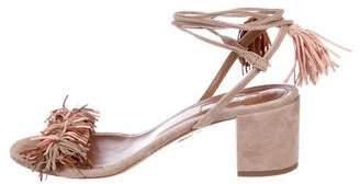 Aquazzura Suede Fringe Wrap-Tie Sandals