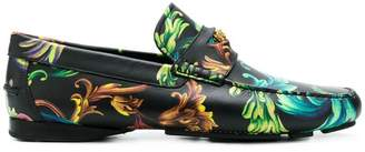 Versace Acid Baroque print loafers