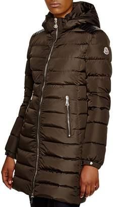 Moncler Orophin Leather Shoulder-Inset Down Coat