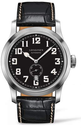 Longines Heritage Automatic Military Leather Strap Watch, 44mm