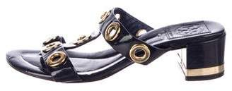 Tory Burch Patent Leather Grommet Slides