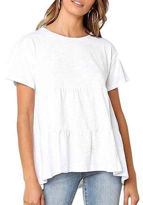 BONIFOT Women's Peplum Tops Loose fit Round Neck Casual Tee Shirts