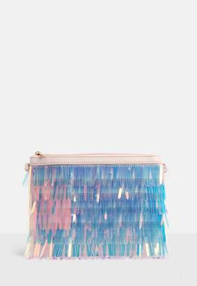 Missguided Pink Iridescent Holographic Tassel Clutch Bag