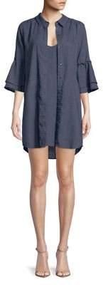 Splendid Ruffle Chambray Shirtdress