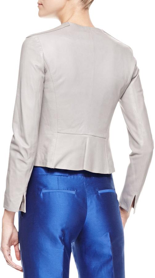 Giorgio Armani Ruffled Snap-Front Leather Jacket, Gray