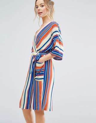 Closet London Kimono Sleeve Striped Wrap Dress