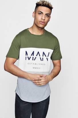 boohoo Colour Block MAN T-Shirt With Curved Hem