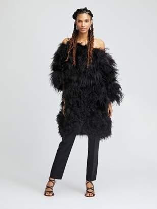 Oscar de la Renta Black Shadow Fox and Feather Swirl Wrap Coat