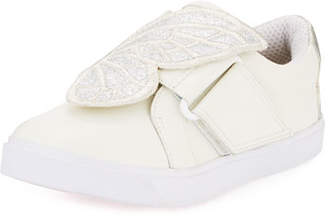 Sophia Webster Bibi Embroidered-Butterfly Leather Low-Top Sneakers, Toddler/Kid