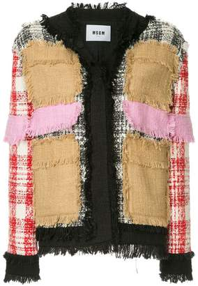MSGM contrast tweed jacket
