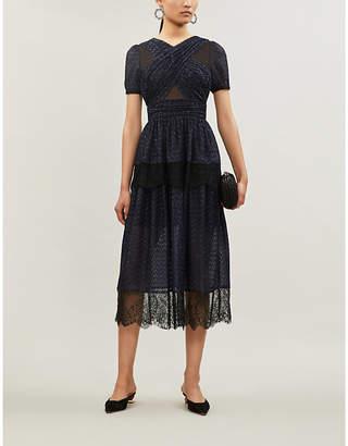 Self-Portrait Short-sleeved fil coupé dress