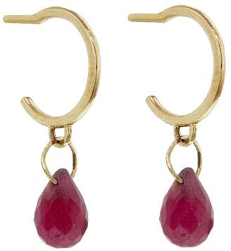 Melissa Joy Manning Tiny Ruby Drop Hoop Earrings - Yellow Gold