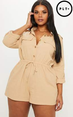 PrettyLittleThing Plus Stone Pocket Detail Utility Playsuit