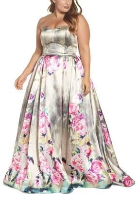 Mac Duggal Floral Bustier Ballgown