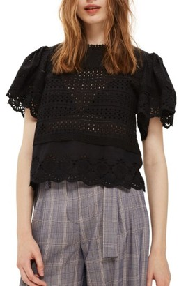 Women's Topshop Broderie Ruffle Sleeve Top $55 thestylecure.com