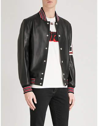 Givenchy Stripe-trimmed leather bomber jacket
