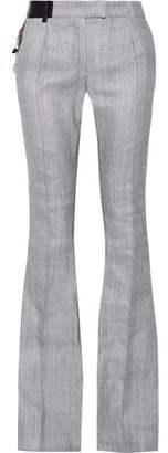 Ronald Van Der Kemp Embellished Leather-Trimmed Cotton Bootcut Pants
