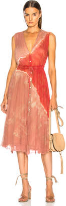 Raquel Allegra Button Up Dessert Dress in Pink Sands Tie Dye | FWRD