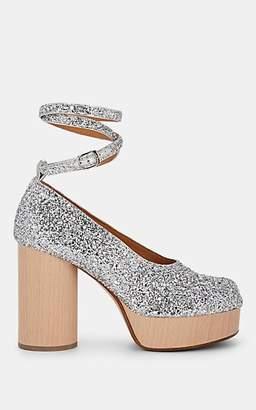 Maison Margiela Women's Tabi Glitter Platform Pumps - Silver