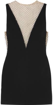 Stella McCartney Crystal-embellished Mesh And Cady Mini Dress - Black