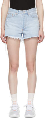 Off-White Blue Denim Five-Pocket Shorts