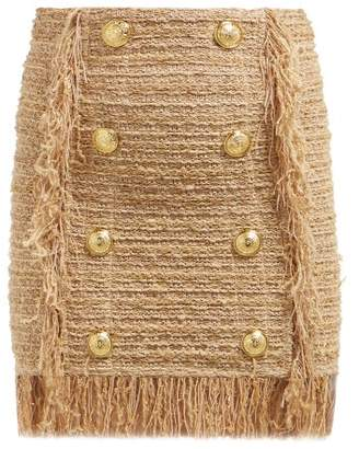 Balmain Fringed Tweed Mini Skirt - Womens - Beige