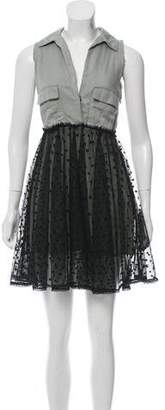Diesel Mesh-Accented Collared Dress
