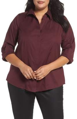 Foxcroft Ellen Solid Stretch Cotton Top