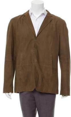 John Varvatos Suede Hook-Close Jacket