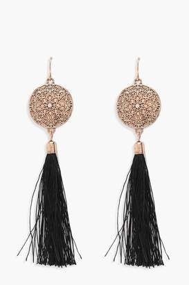 boohoo Engraved Disc Tassel Earrings