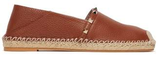 Valentino Rockstud Collapsible Heel Leather Espadrille Flats - Womens - Dark Tan