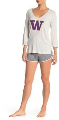 Munki Munki Washington Huskies Long Sleeve Tee & Knit Shorts 2-Piece Pajama Set